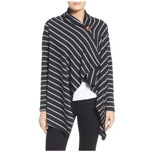 Bobeau Nordstrom Striped Wrap Cardigan Sweater